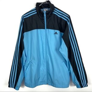 Adidas Blue Black Stripes Windbreaker Jacket Large